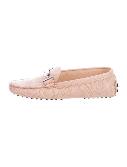 Tod's Lizard Loafers Pink