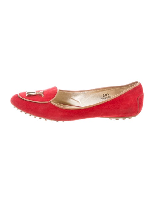 Tod's Suede Ballet Flats Red