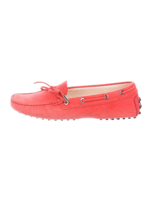 Tod's Suede Bow Accents Moccasins Red