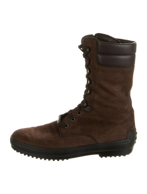 Tod's Leather Combat Boots Brown