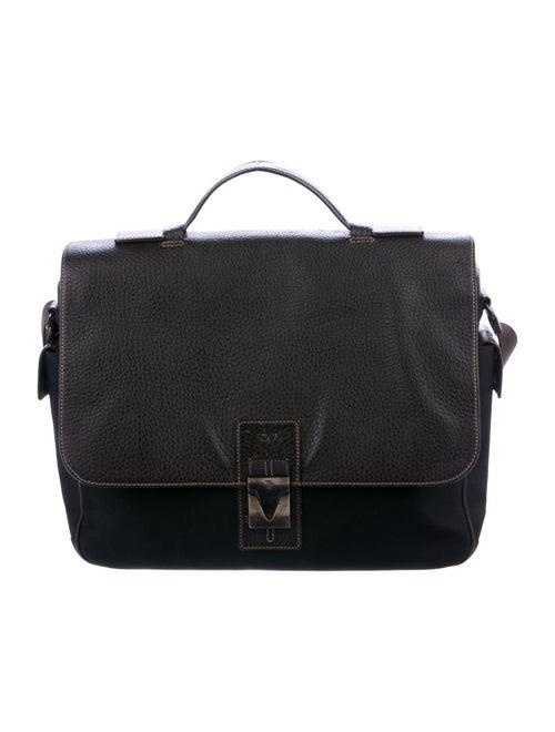 Tod's Leather & Canvas Messenger Bag Black