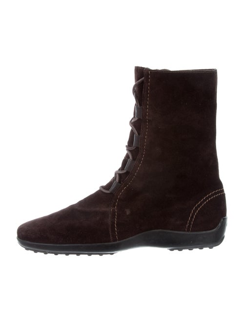 Tod's Suede Combat Boots Brown