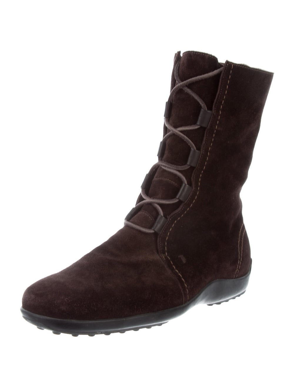 Tod's Suede Combat Boots Brown - image 2