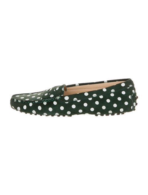 Tod's Suede Polka Dot Print Ballet Flats Green