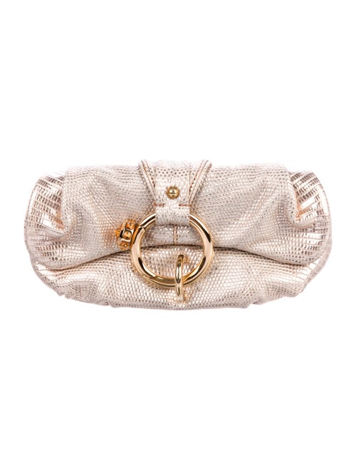 Tod's Embossed Leather Clutch Metallic
