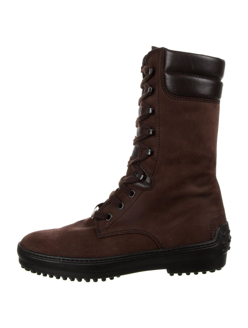 Tod's Suede Combat Boots Brown - image 1