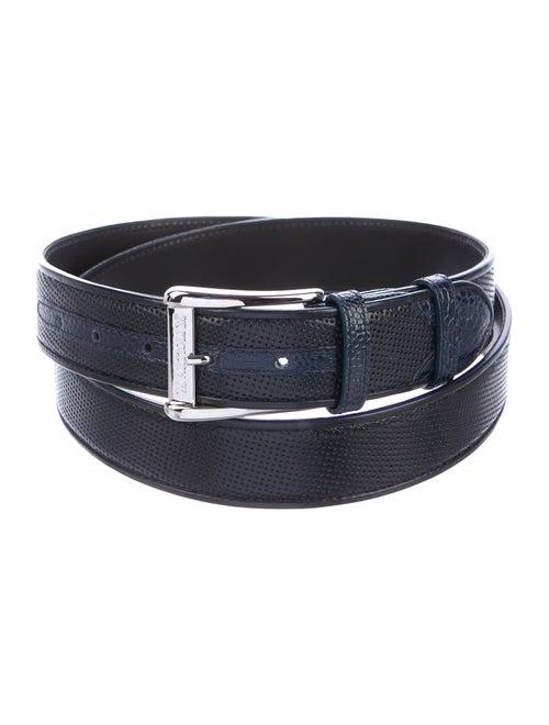 Artioli Embossed Leather Belt navy