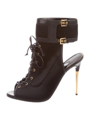 Satin Lace-Up Booties