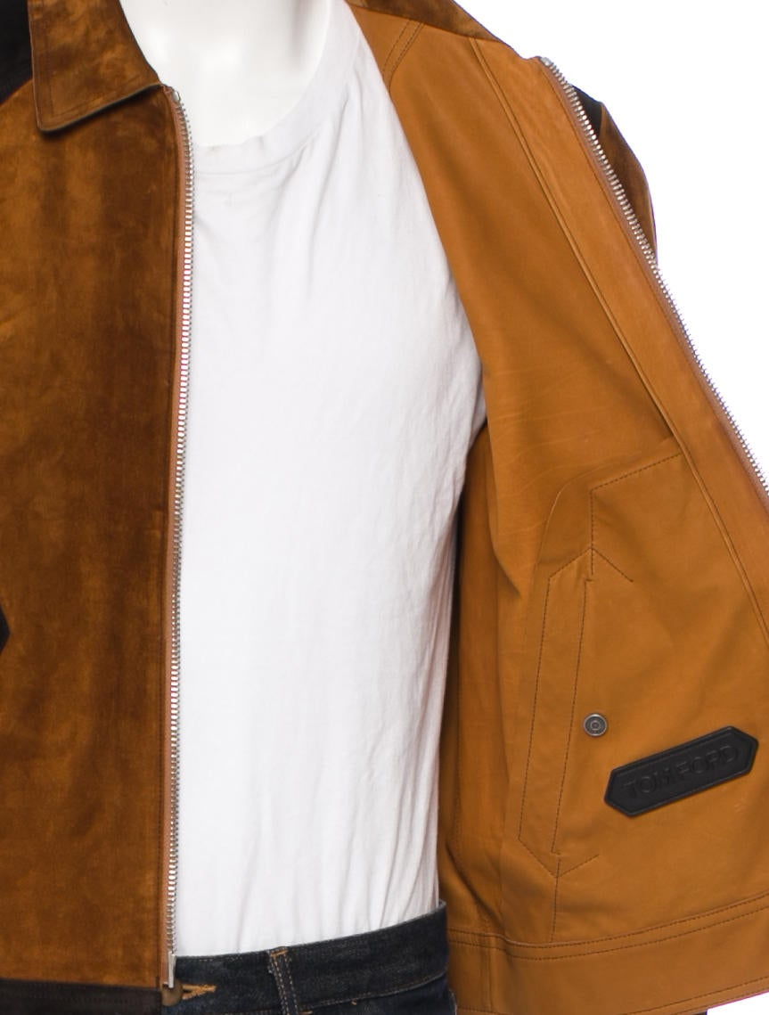 Tom Ford Two-Toned Aged Suede Bomber Jacket - Clothing - TOM28324 ...