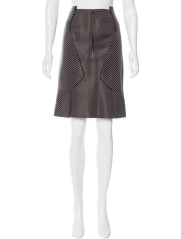 Tom Ford Leather-Accented Knee-Length Skirt