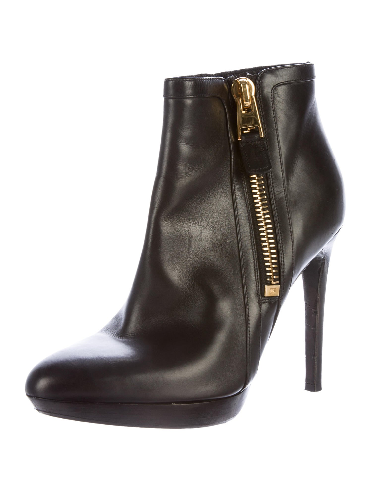 tom ford leather semi pointed toe ankle boots shoes