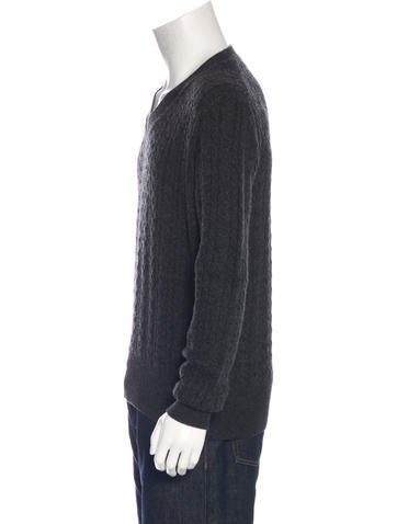100 Cashmere Cable V Neck Sweater 48