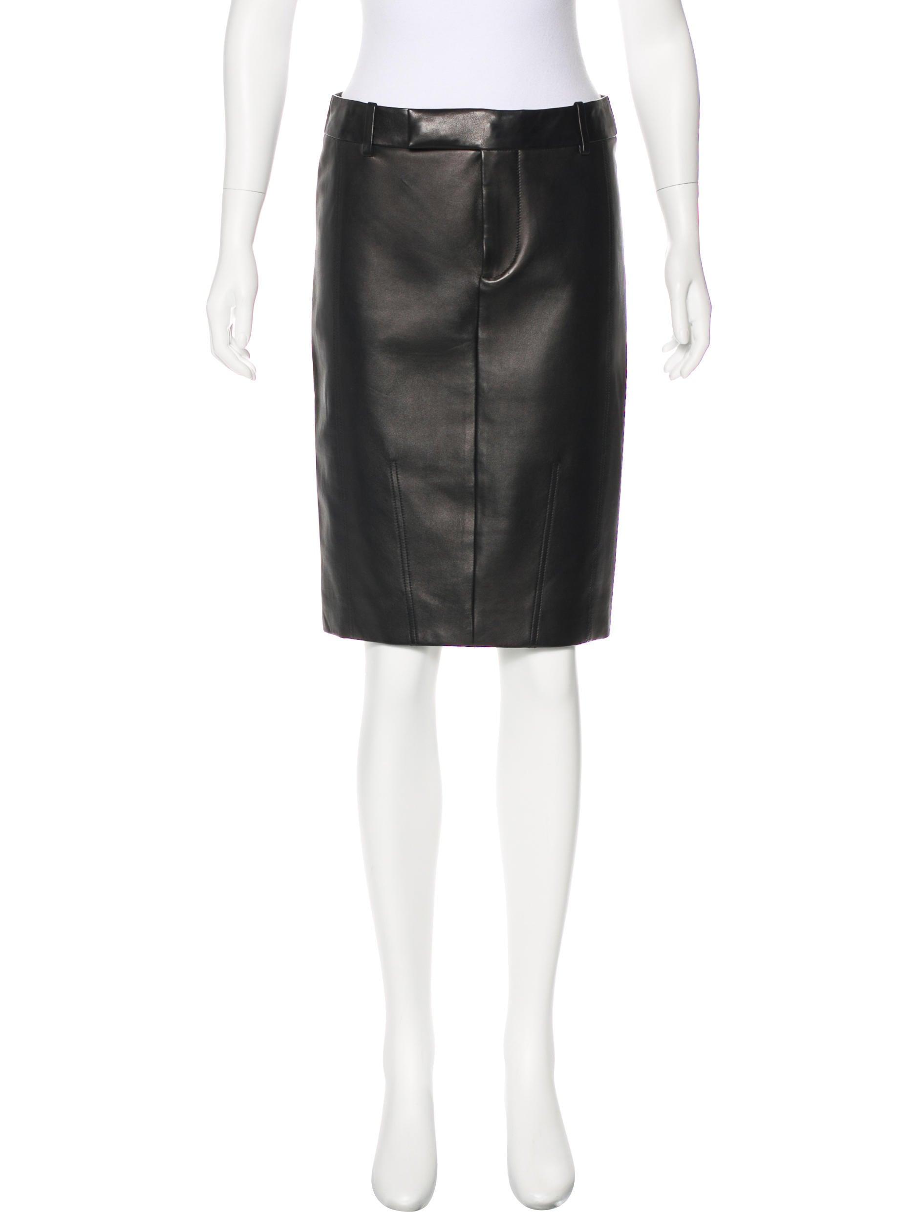 tom ford leather knee length skirt clothing tom36462