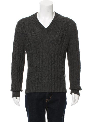 Tom Ford Cable Knit V-Neck Sweater None