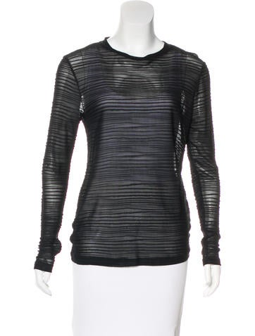 Tom Ford Semi-Sheer Rib Knit Top None