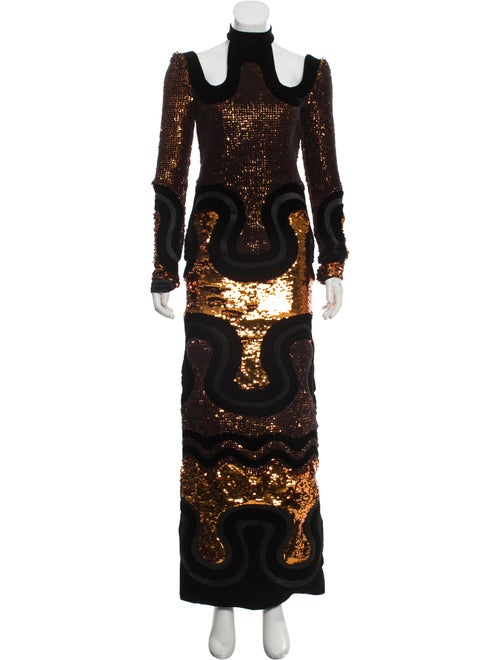 Tom Ford Embroidered Evening Gown Black