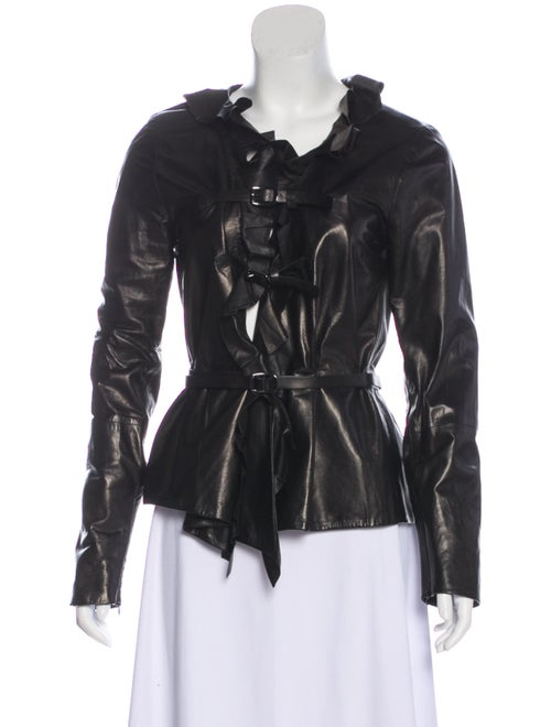 Tom Ford Belted Lamb Leather Jacket Black