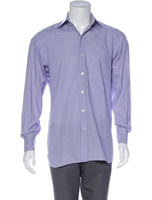Tom Ford Plaid Button-Up Shirt indigo