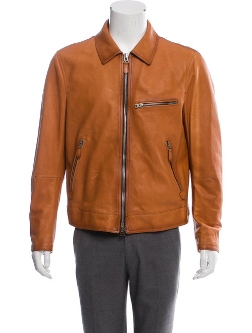 Tom Ford Leather Zip Jacket cognac
