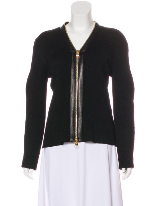 Tom Ford Leather-Accented Long Sleeve Cardigan Bla