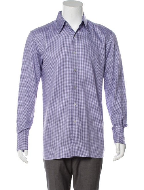 Tom Ford Checkered Long Sleeve Shirt purple