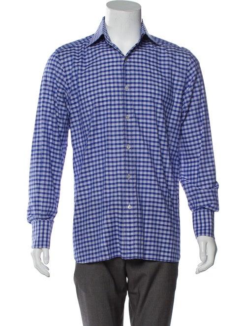 Tom Ford Checkered Woven Shirt blue