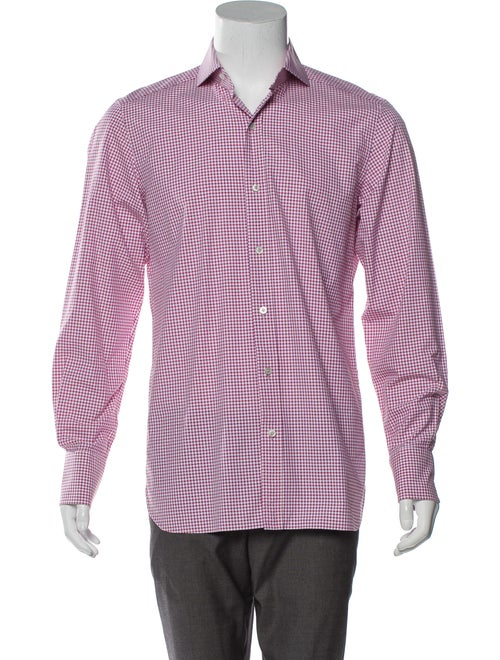 Tom Ford Checkered Woven Shirt red