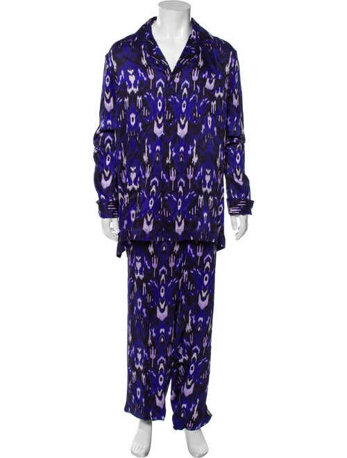 Tom Ford Silk Graphic Print Pajama Set Purple