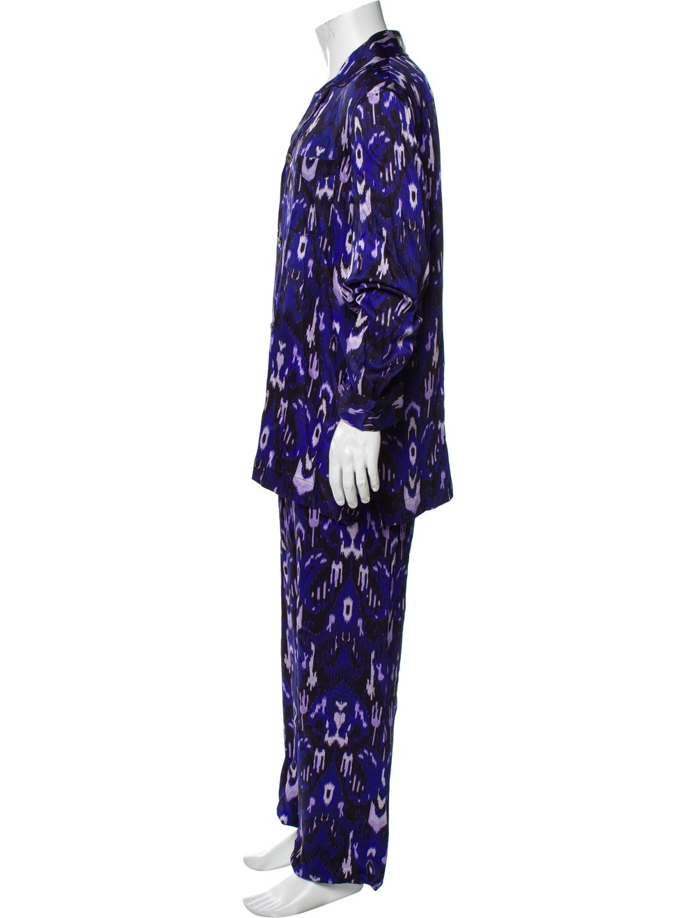Tom Ford Silk Graphic Print Pajama Set Purple - image 2