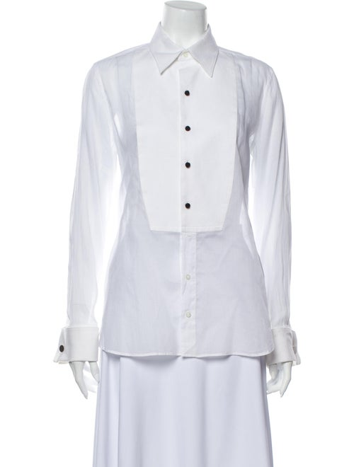 Tom Ford Long Sleeve Button-Up Top White