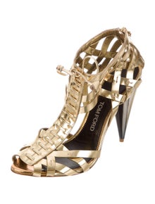 Tom Ford Leather Cutout Accent T-Strap Sandals