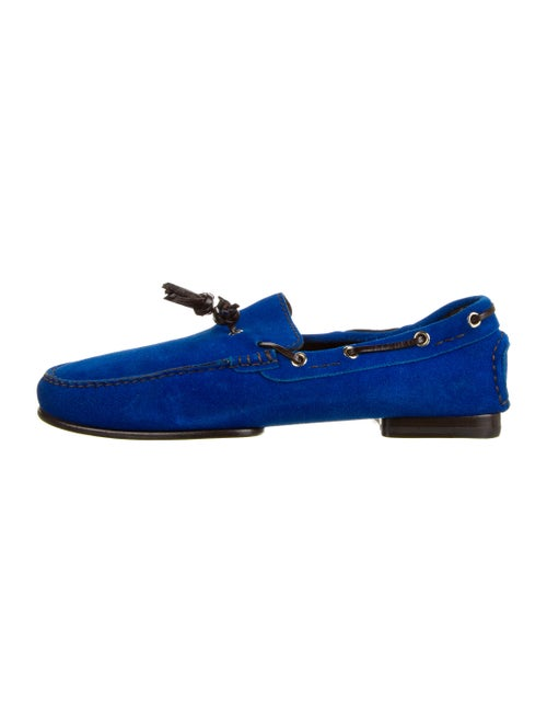 Tom Ford Suede Tassel Accents Boat Shoes Blue