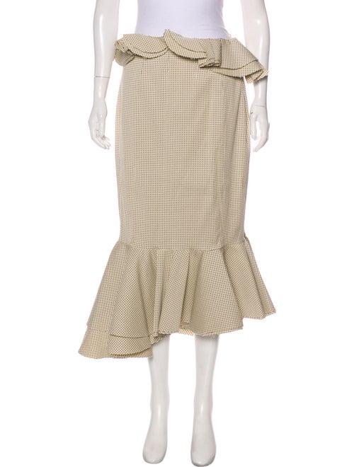 Brock Collection Gingham Midi Skirt Beige