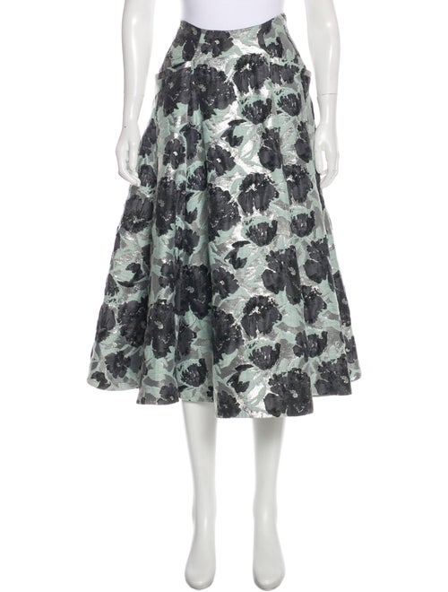 Brock Collection Metallic Floral Skirt Silver
