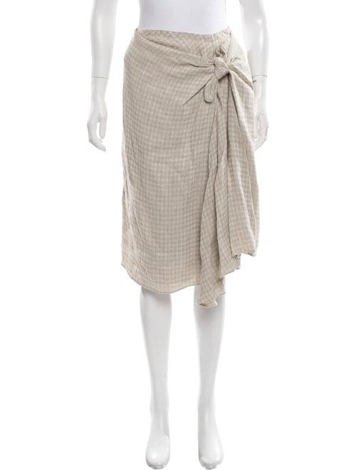 Brock Collection Linen Plaid Skirt Beige