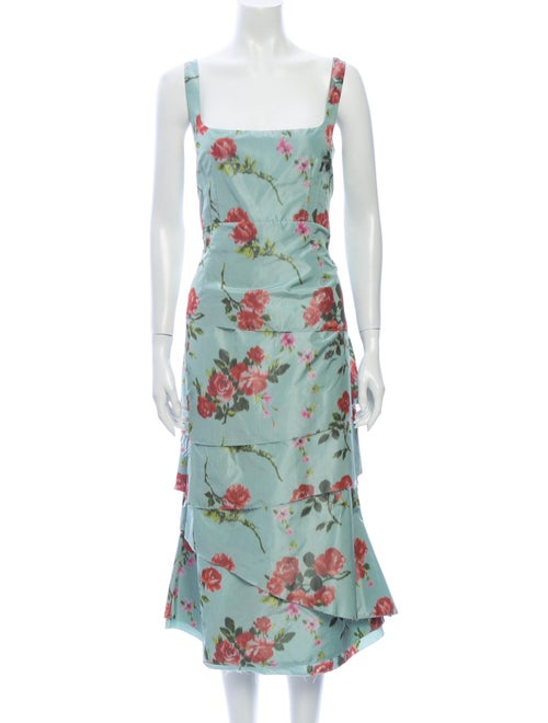 Brock Collection Floral Print Midi Length Dress w/