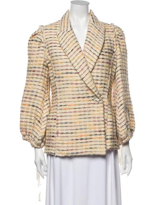 Brock Collection Tweed Pattern Blazer Yellow