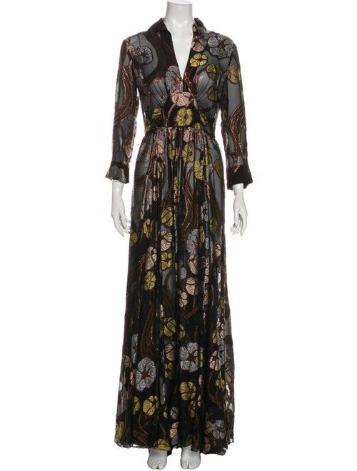 Brock Collection Patterned Long Dress Black