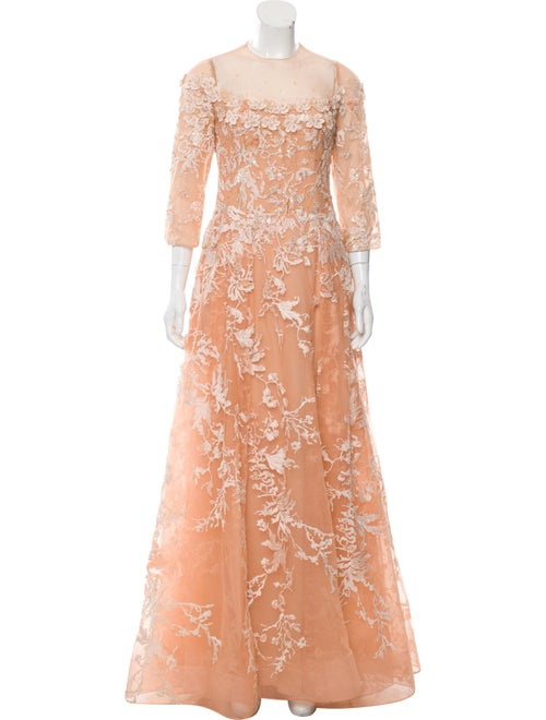 Tony Ward Embroidered Evening Gown red