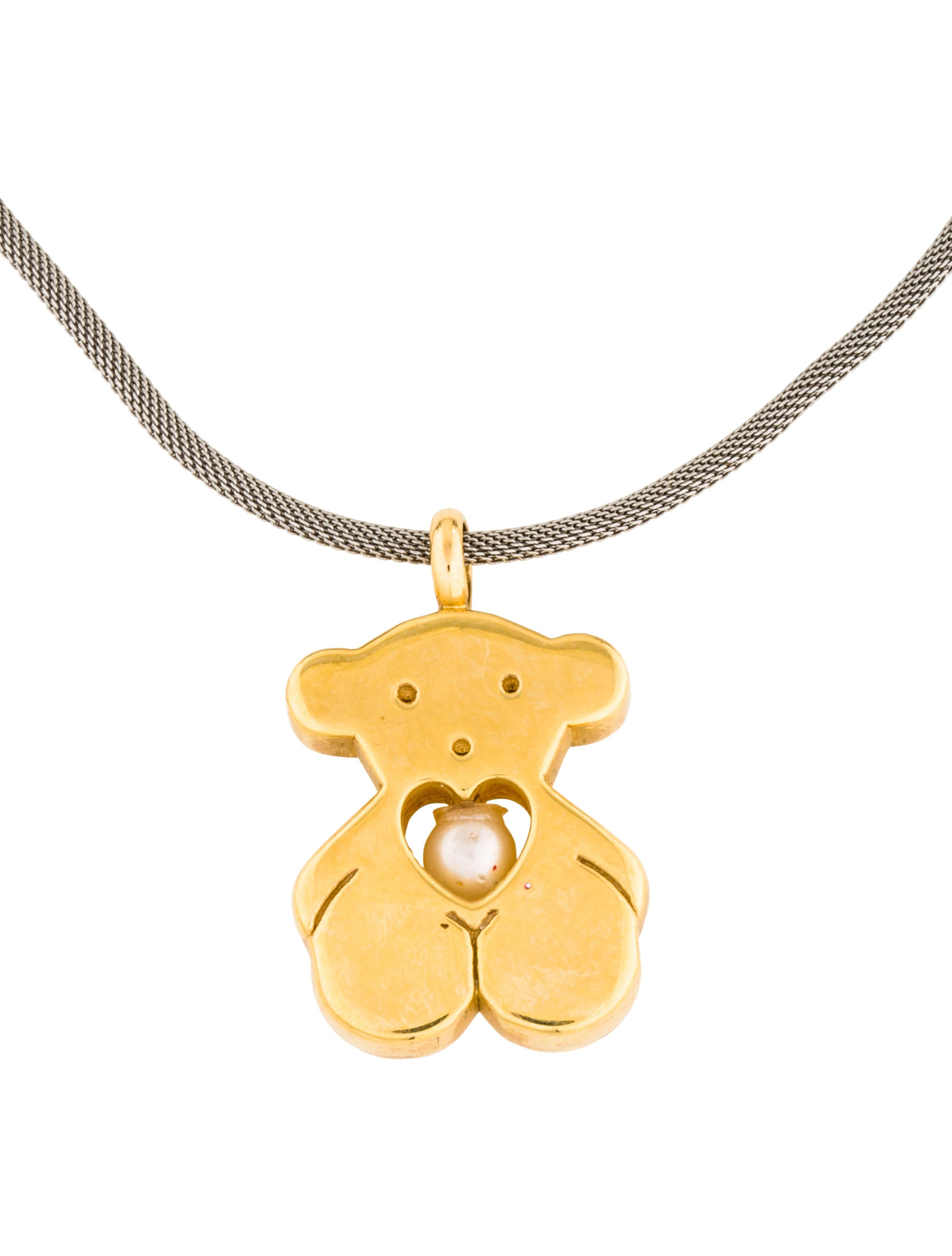 Tous Bear & Pearl Pendant Necklace - Necklaces - TOU20095 ...