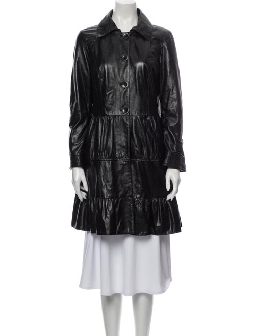 Coat Leather Trench Coat Black