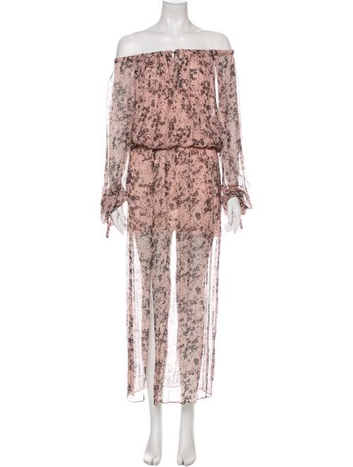 Dress Floral Print Long Dress Pink