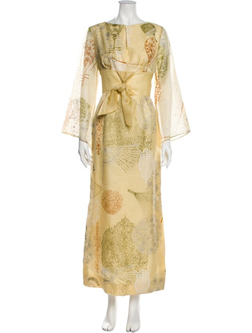 Dress Vintage Long Dress Yellow