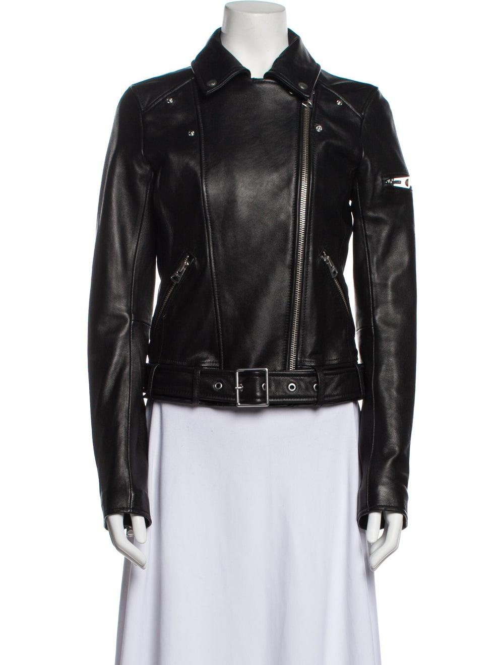 Jacket Leather Biker Jacket Black - image 4