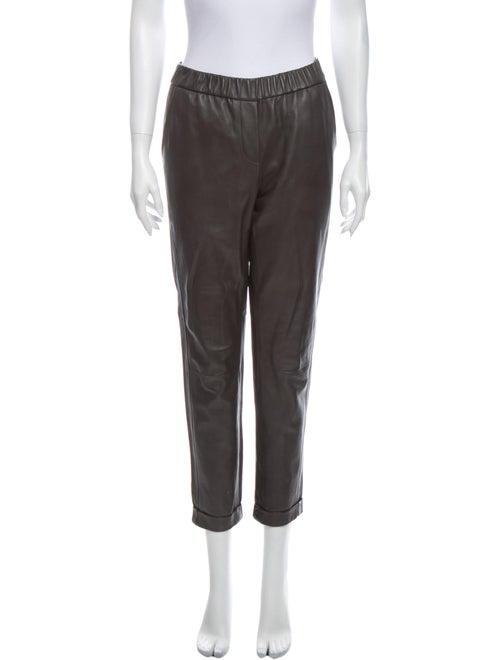 Pants Lamb Leather Straight Leg Pants Grey