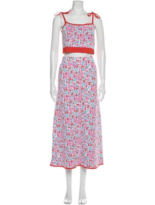 JoosTricot Floral Print Skirt Set Orange