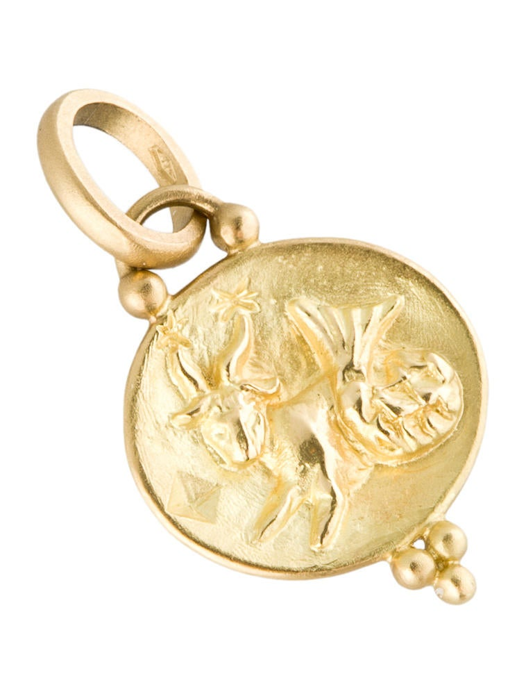 Temple st clair 18k gold capricorn pendant charms tsc20005 18k gold capricorn pendant aloadofball Choice Image