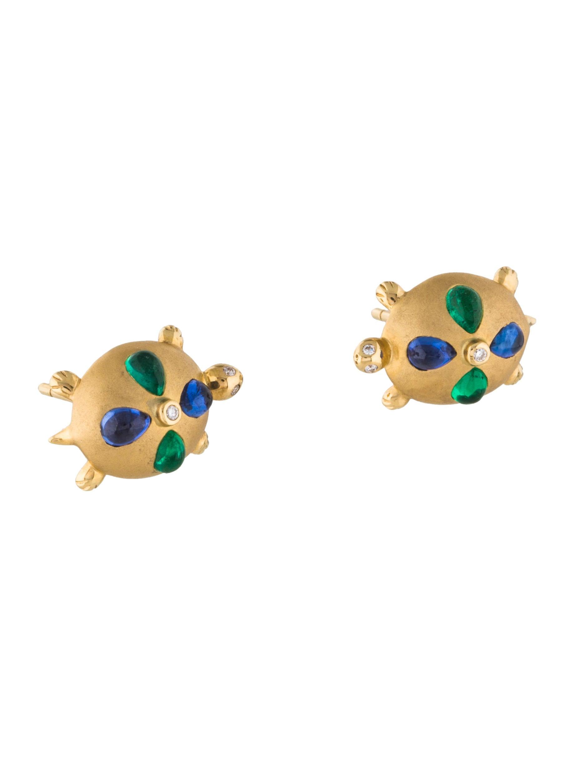 18k Diamond Shire Emerald Turtle Earrings