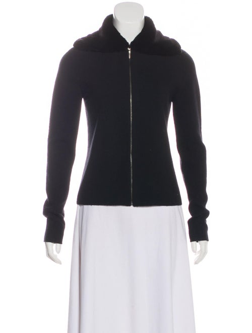 TSE Cashmere Fur-Trimmed Cashmere Cardigan Black