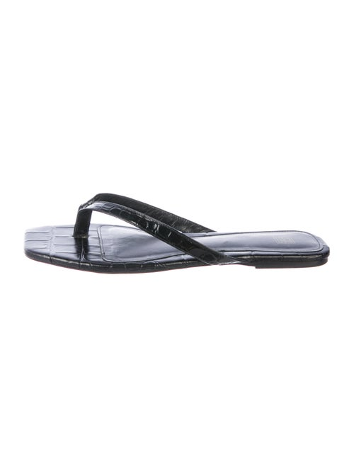 Totême Leather Flip Flops Black